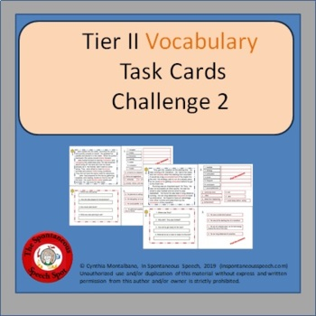 Tier II Vocabulary Task Card Challenge II