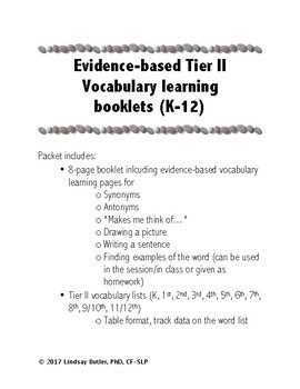 Tier II vocabulary booklets and word lists for K through 12