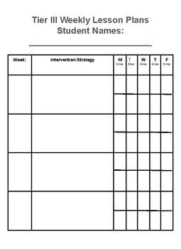Tier III Intervention Documentation/Lesson Plan