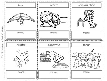 Tier Two Vocabulary Card Deck:  Fifth (5th) Grade