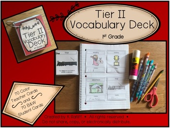 Tier Two Vocabulary Card Deck:  First (1st) Grade
