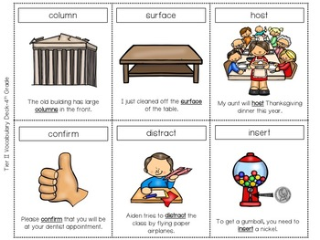 Tier Two Vocabulary Card Deck:  Fourth (4th) Grade