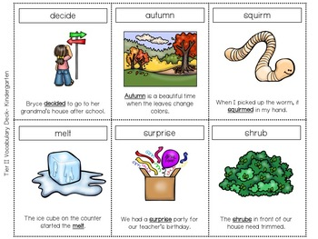Tier Two Vocabulary Card Deck:  Kindergarten