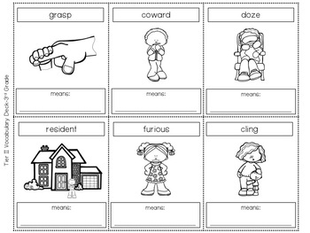 Tier Two Vocabulary Card Deck:  Third (3rd) Grade