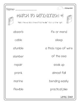 Word Worksheets: Level 2 (Tier Two Vocabulary)