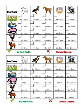 Tiere (Animals in German) Grid vocabulary activity