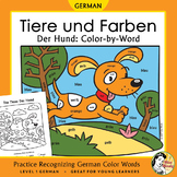 Tiere und Farben: Der Hund ~ German Color Names Color-by-Word Dog, Pets, Animals