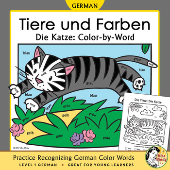 Tiere und Farben: Die Katze German Color Names Color-by-Word Cat, Pets, Animals