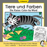 Tiere und Farben: Die Katze German Color Names Color-by-Word Cat, Pets, Animals
