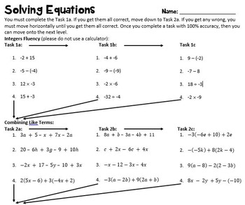 Tiered Activity for Equations
