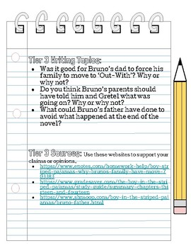 Tiered Argumentative Essay  Lesson For Boy In Striped Pajamas