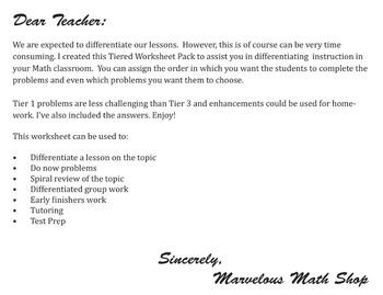 Tiered Decimal Worksheet Pack
