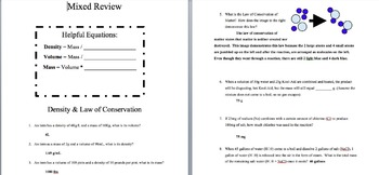 Tiered Density & Law of Conservation of Matter Review