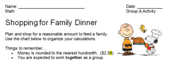 Tiered Family Dinner Activity