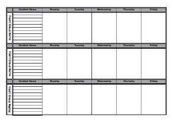 Tiered Group Planning Form