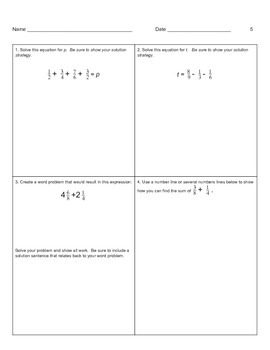 Tiered Homework - Adding and Subtracting Fractions - 5.NF.1 (Touching on 5.NF.2)
