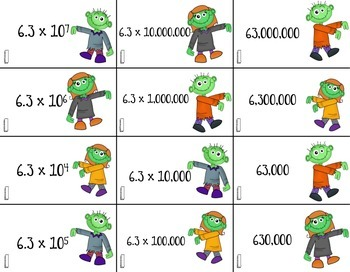 Tiered Scientific Notation Matching **Halloween Theme**