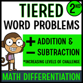Tiered Word Problems for Math Differentiation (Second Grade)