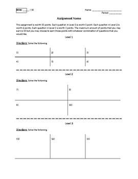 Tiered Worksheet Template