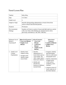 Tiered lesson plan for teaching musical form