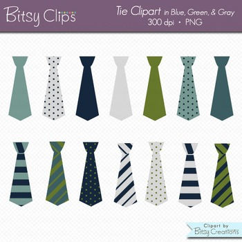 Ties in Blue, Green, and Gray Digital Art Set Clipart Commercial Use Clip Art