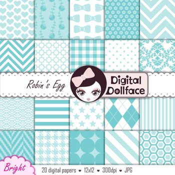Robin's Egg Blue Digital Paper Pack, Scrapbook Paper
