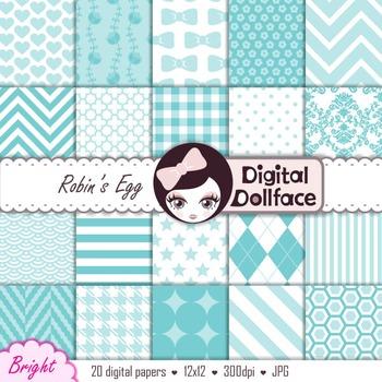 Robin's Egg Blue Digital Paper Pack, Scrapbook Paper