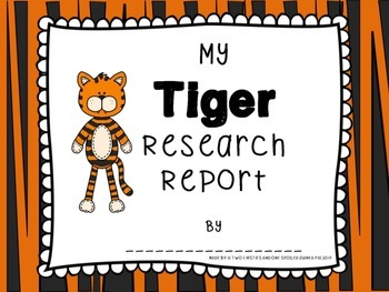 Tiger Animal KWL Research And Informational Writing Pack Sample {Common Core}