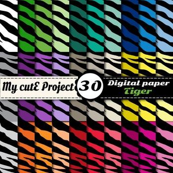 "Tiger - Animal Prints- DIGITAL PAPER-Instant Download-Scrapbooking-A4 & 12x12"""