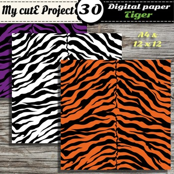Tiger - Animal Prints- DIGITAL PAPER-Instant Download-Scrapbooking-A4 & 12x12""