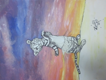 Free Art Lesson - Dancing Tiger Sunset