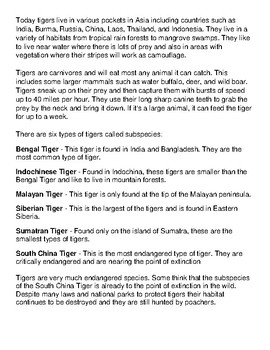 Tiger Article and Coloring Worksheet