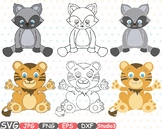 Tiger Badgers Outline Silhouette Studio clipart Safari Cute Baby Animals - 748S