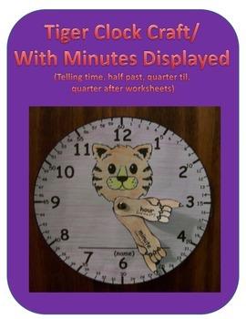 Tiger Clock Craft with Minutes Displayed (Telling Time worksheet)