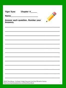 Tiger Eyes by Judy Blume Novel Study