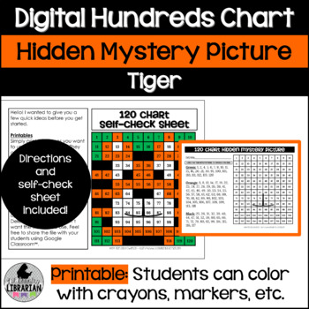 Tiger Hundreds and 120 Chart Hidden Picture Activity for Math or Zoo Theme