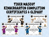 Tiger Mascot Kindergarten Completion Certificates and Clip Art in School Colors