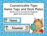 Tiger Name Tags and Desk Plates - Customizable