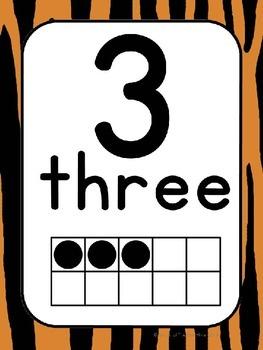 Number Cards 0-20 Tiger Stripes