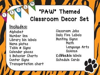 "Tiger ""PAW"" Classroom Decor Set"