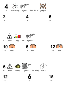 Tiger - Picture Supported Text lesson with questions facts information