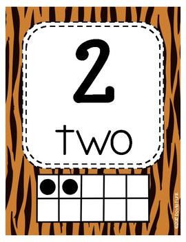 Classroom Decor Tiger Print Classroom Number Posters 1-20