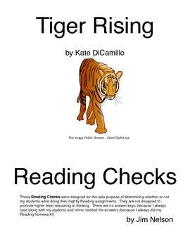 Tiger Rising Reading Check Questions