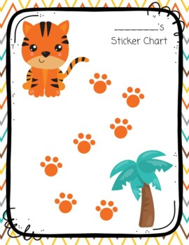 Tiger Safari Animal Sticker Chart