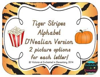 Tiger Stripes Alphabet Cards: D'Nealian Version