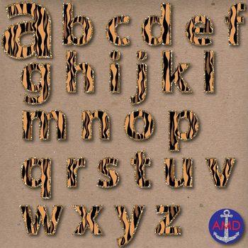 Tiger Stripes & Glitter Digital Alphabet & Numbers Clip Art Set- Letter Tiles