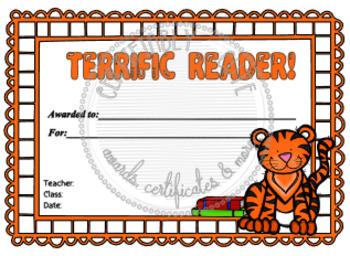 Tiger Terrific Reader Certificate