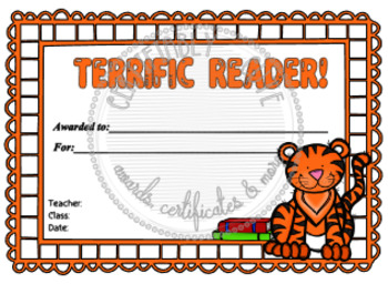 Tiger Terrific Reader Certificate