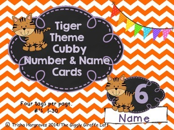 Tiger Theme Cubby Name & # Tags