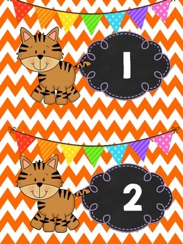 Tiger Theme Table Numbers